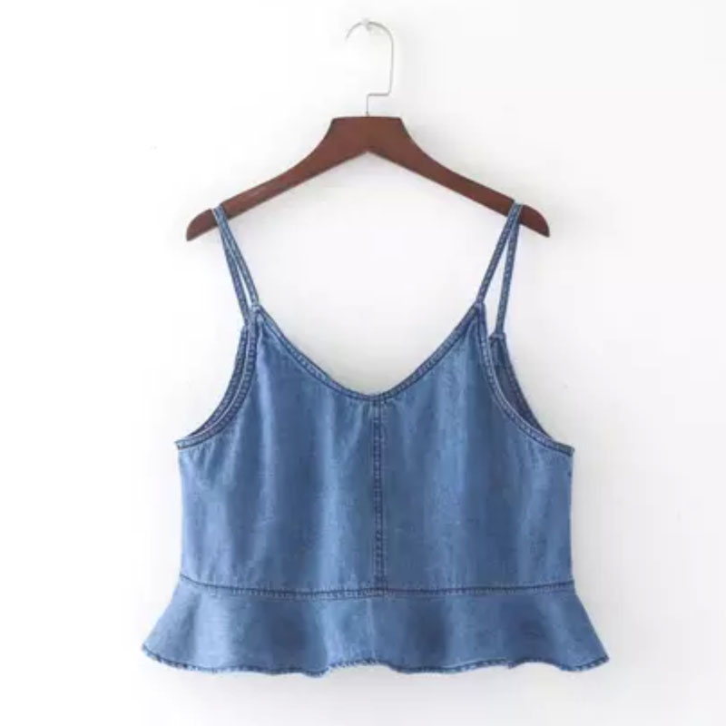2018 Summer Sexy Deep O-neck Sleeveless Hot Sale Ladies Flouncing  Cowboy Top Solid Women Slim Top T-shirt