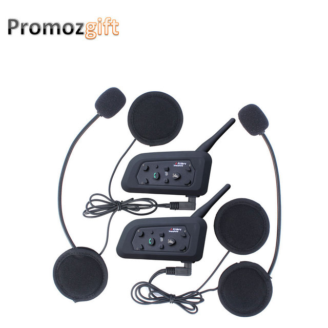 2016 New ! 2 pcs V6 Helmet Intercom 6 Rider 1200M Motorcycle Bluetooth Intercom Headset walkie talkie Helmet Intercom Motorcycle
