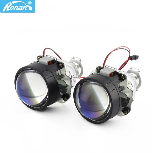 New Price RONAN 2.5''Ver8.1 blue coating Bi xenon HID MINI projector Lens H1 car headlight H4 H7 base adapter ring Car Styling retrofit