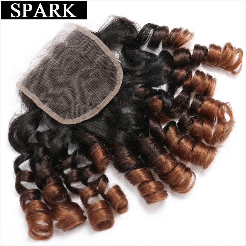 Spark 4x4 Ombre Brazil Remy Hair Bouncy Curly Closure 10-22inch 1b / - Rambut manusia (untuk hitam) - Foto 2