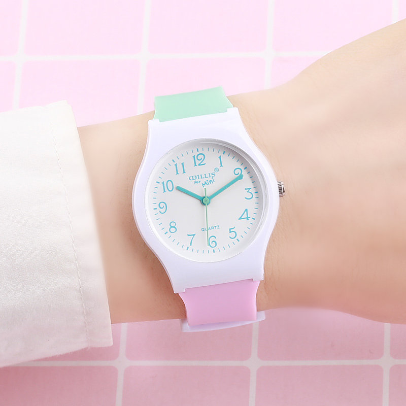 Hot Sales Lovely Contrast Color Jelly Watch Children Girls Women Fashion Simple Dress Quartz Wristwatches Kids Watch