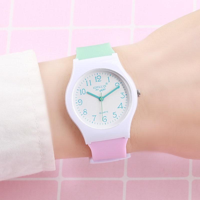 Hot Sales Lovely Contrast Color Jelly Watch Children Girls Women Fashion Simple Dress Quartz Wristwatches Kids Watch