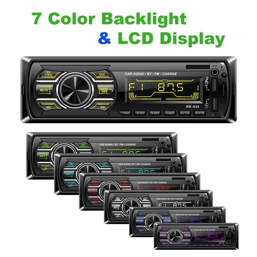 RK 535 Fixed panel Car Radio FM DC 12V Audio MP3 WMA player Bluetooth Two USB Charging SD AUX SWC Remote 7 colors backlight 535