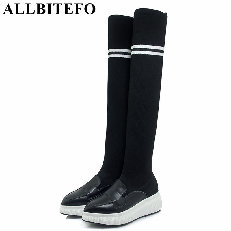 цена на ALLBITEFO genuine leather+Stretch fabrics high heels ankle boots women wedges heel platform women boots martin boots girls shoes