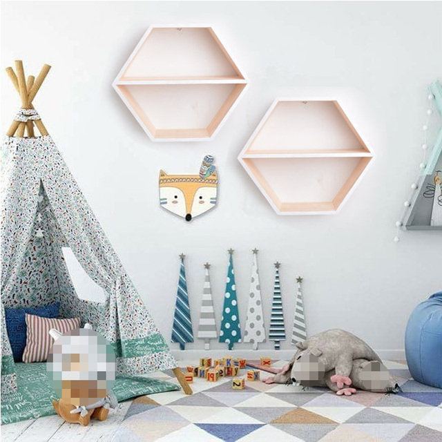 Hexagonal Wooden Wall Shelf Storage Box Decoration For Baby Room Hanging  Toys Book Doll Shelves Nordic