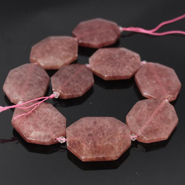 AAA grade Natural strawberry quartz faceted slab nugget beads,Slice Pink Strawberry crystal,large size gem stone pendant