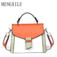 MENGXILU 2 Straps Crossbody Bags Handbags Women Famous Brand Unique Patchwork Designer High Quality Pu Leather