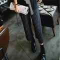 Diseño de Moda de otoño de Maternidad de Rayas Pantalones de Pierna Ancha de Cintura Alta Pantalones Más El Tamaño de la Señora Pantalones Del Vientre Legging para Las Mujeres Embarazadas