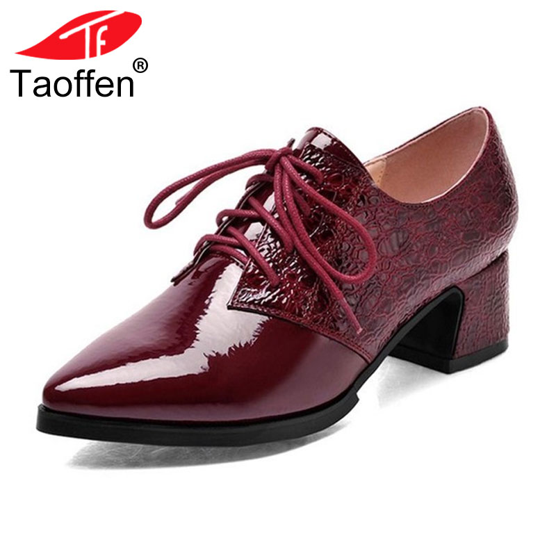 TAOFFEN Women Shoes Casual Flats Shoes Women Low Heels Shoes Lafers Sexy Spring Women Brand Footwear Shoes Size 34-42 P16166 taoffen ladies leisure casual flats shoes low heels lady loafers sexy spring women brand footwear shoes size 34 42 p16166