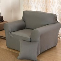 Slipcover Grey Chair Loveseat Sofa Couch Stretch Protector Cover 1 2 3 4 Couch Stretch Protect