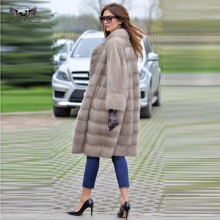 Tatyana Real Fur Mink Fur Coat Women 100 CM Slim Mink Fur Coats Collar Genuine Leather Outwear Jacket Fashion Overcoats winter