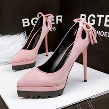 2016 Korean Sexy Suede High-heeled Shoes Thin Heels Female Waterproof  Hollow Tassel Women Pumps