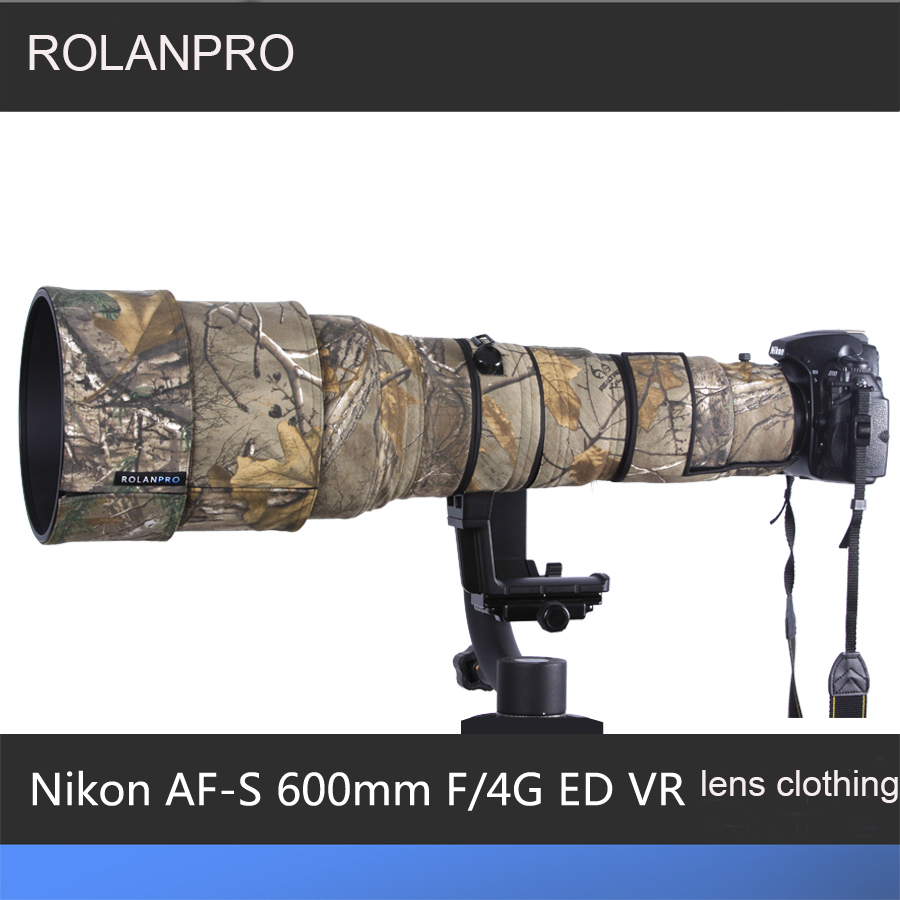 ROLANPRO Lens Camouflage Rain Cover for Nikon AF-S 600mm f/4G ED VR Lens Protective Case Guns Clothing SLR Cotton/Waterproof new nikon d5500 digital slr camera body with nikon af s dx 18 55mm f 3 5 5 6g vr ii lens