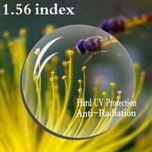 1.56 מדד אספריים מרשם עדשה CR 39 קוצר ראיה פרסביופיה עדשה קשה הגנת UV משקפיים עדשה נגד קרינה 2 PCS RS067
