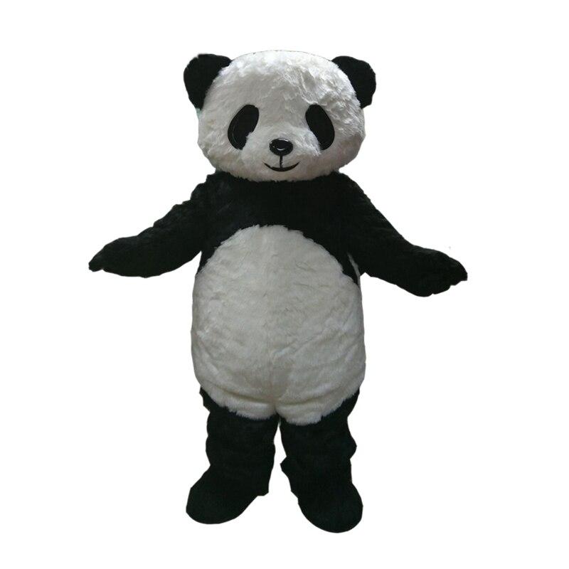 Personnalisé En Peluche Panda Costume De Mascotte Taille Adulte Costume Avec Un Mini Ventilateur Intérieur de La Tête Pour La Publicité Commerciale Carnaval Partie