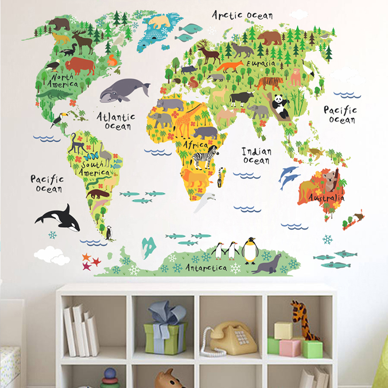 COMMERCIO ALL'INGROSSO mappa del mondo animali adesivi murali camera dei bambini decorazioni cartoon mural art zoo children home decalcomanie manifesti 037. 5.0