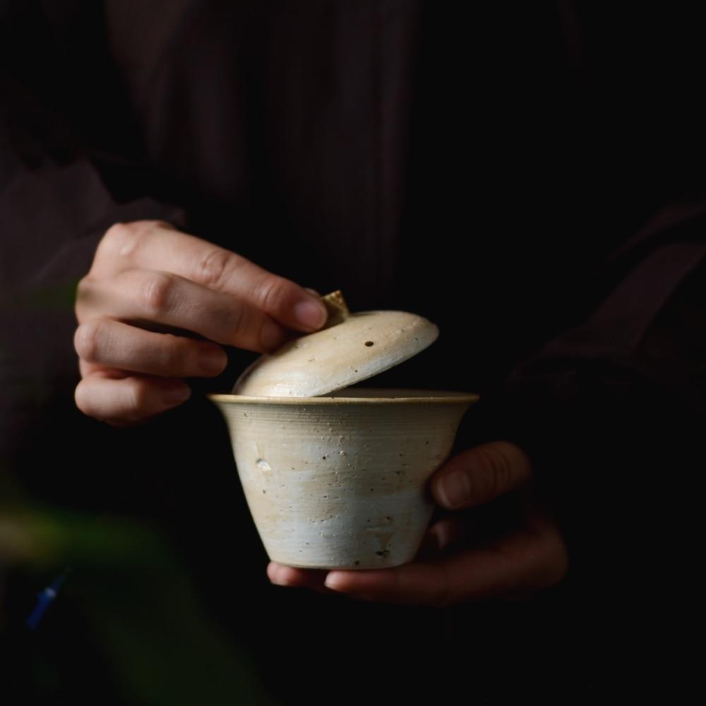 Cuenco de cerámica de ingdezhen cuenco de plomo en polvo de cerámica grueso tazón esmaltado de hierba gris para caminar en la nieve serie tres únicos cuencos tazón de mano - 2