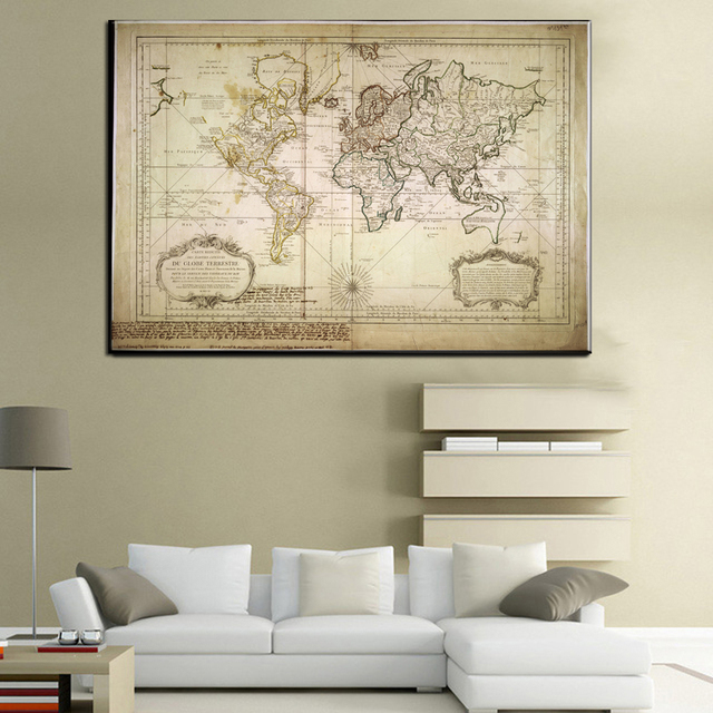 Xll212 vintage style retro world map poster home decoration wall art xll212 vintage style retro world map poster home decoration wall art map ancient picture prints canvas gumiabroncs Choice Image