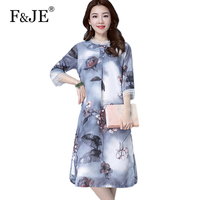 F JE 2018 Summer New Fashion Women Clothing 3 4 Sleeve Loose Casual Dresses Vintage Print