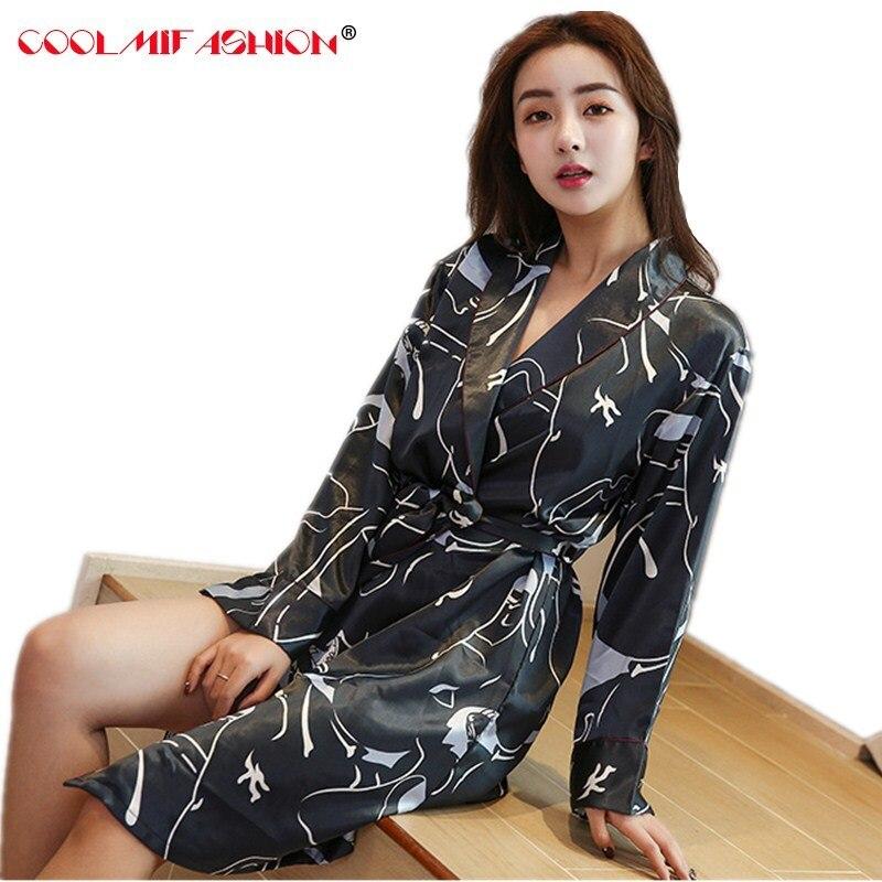 Online Shop Women Silk Satin Night Robe Printing Spring Kimono Robe vintage  Fashion Sexy Bathrobe Peignoir Femme Sexy Peignoir Dressing Gown  41fa88aca