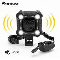 WEST BIKING 4 Lamp Bike Light with 140dB Horn Alarm Waterproof Cycling Lights USB Charging Flashlight Security Bicycle Light