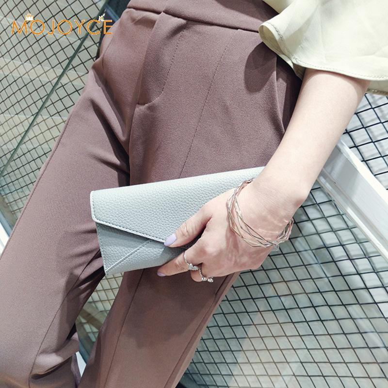 Korean Style Women PU Leather Wallet Simple lady Long Coin Pocket Card Holder Litchi Pattern 3 fold Money Bag Purse