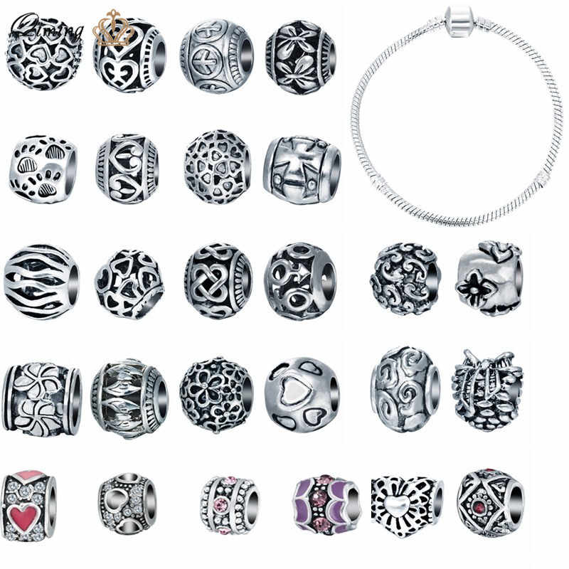 5pcs/lot European Alloy Metal Beads for Jewelry DIY Making Bracelet Findings Bangle Round Antique Silver Paw Heart Flower Beads