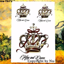 Nu-TATY Sexy Diamond Crown Temporary Tattoo Body Art Flash Tattoo Sticker 21x15cm Waterproof Fake Tatoo Henna Painless Tattoo