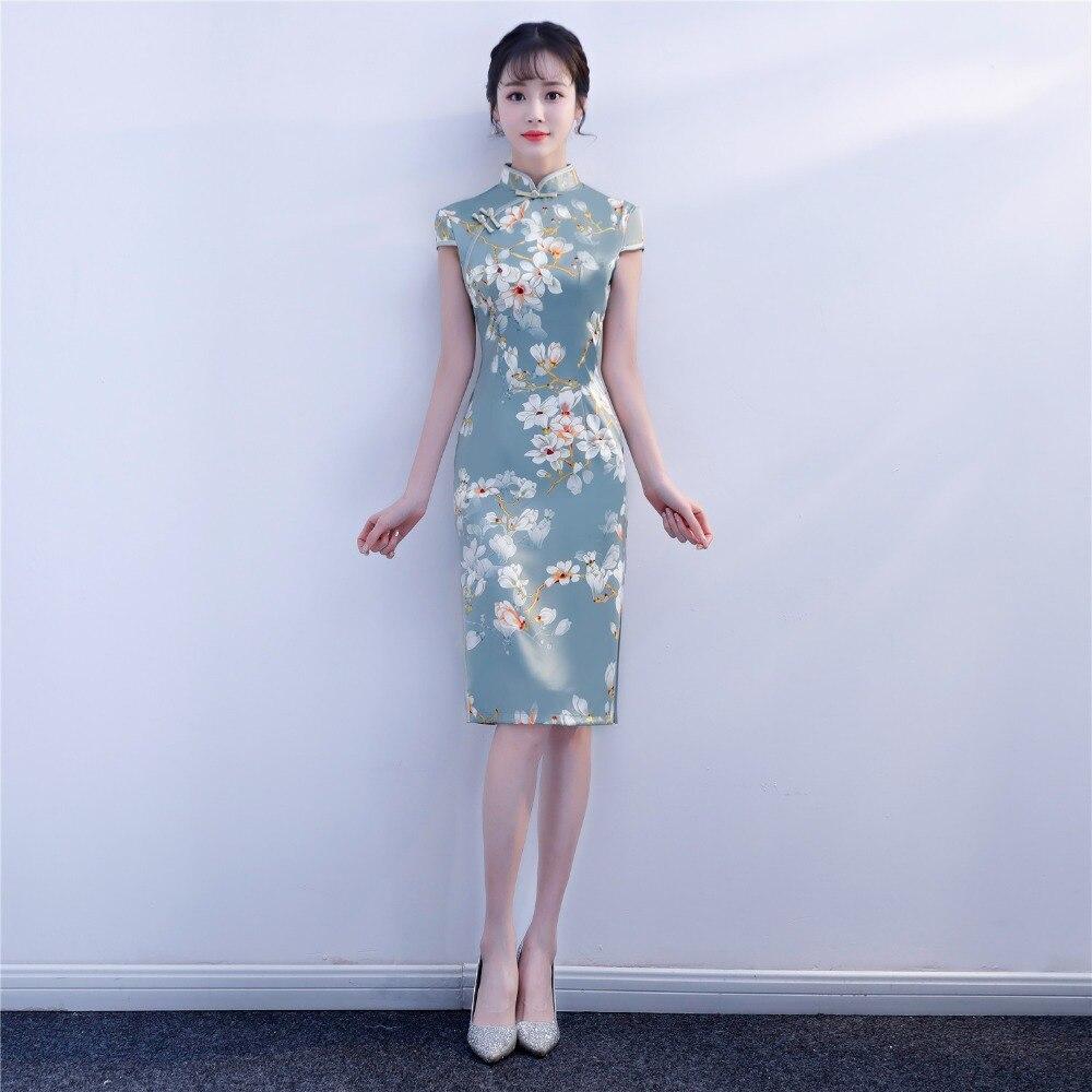f2a49e9dbf97 Manica Shanghai Del 2 La Qipao Per 9 Vintage 2019 Story Vestito Cinese  Corta Floreale Orientale 8 3 Donna Cheongsam wfXfg4rPq