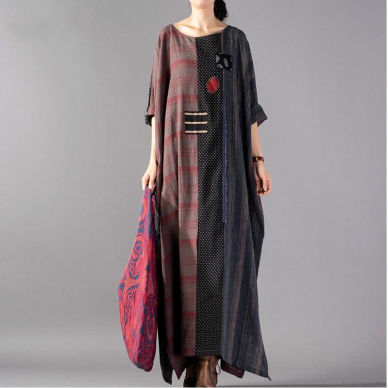 Grande Printemps Red cou Vintage Shengpalae Femme Imprimer Taille Longues Robe Commune Mode Casual 2019 Irrégulière Manches Fendue Bl6 O DHIW92YE