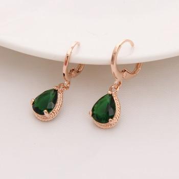 Gold Color Earrings Green Water Drop Earrings