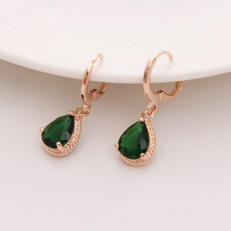Gold Color Earrings Green Water Drop CZ Stone Pierced Dangle Earrings Women/Girls Long Drop Earrings fashion jewelry