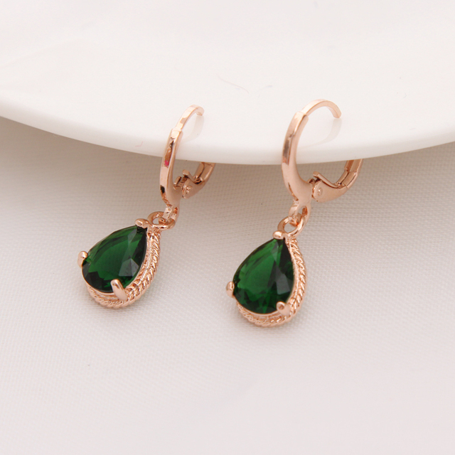 cz dangle water girls plated pierced color item gold women earrings green drop long stone