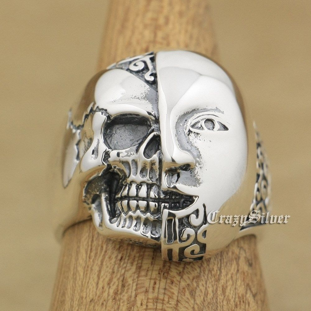 925 Sterling Silver Half Face Half Skull Mens Biker Punk Ring 9W021 US Size 8 14