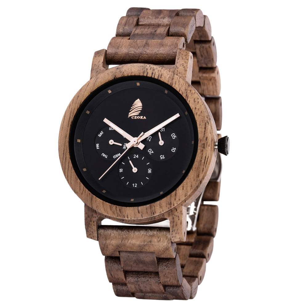 CZOKA Men's/Women Wooden Watch Wrist Watches 100%Natural Wooden Quartz Movement Clock Military Quartz Watches Date/Week display(China)
