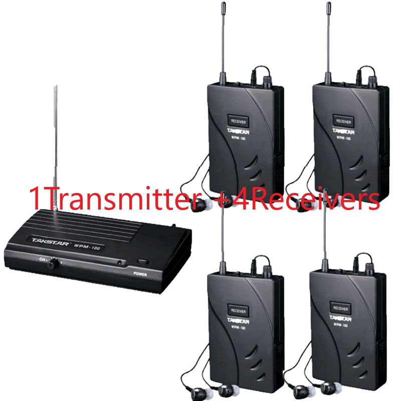 New version Takstar wpm 100 UHF Stage Wireless Monitor System wpm100 In Ear earphone Wireless Stereo