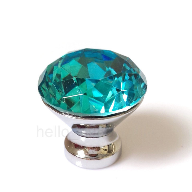 5pcs Lake Blue 30mm Cabinet Crystal Knobs Drawer Knob Cupboard Knobs ...