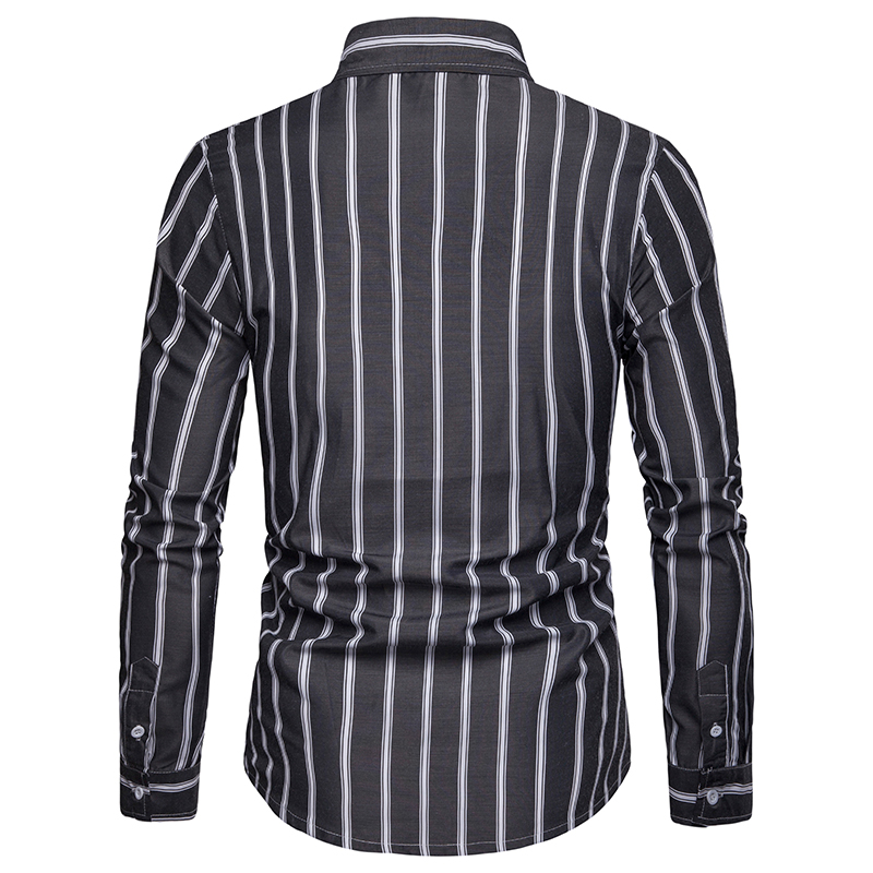 Covrlge High Quality Striped Men British Style Casual Dress Shirts Long Sleeved White Collar Design Style Wedding Tuxedo Shirt in Casual Shirts from Men 39 s Clothing