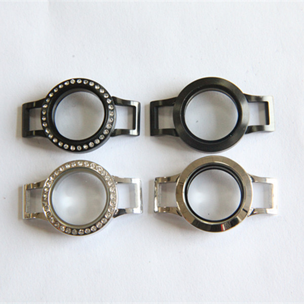 Hot Sale Silver and Black Mixed 25mm Twist Stainless Steel Locket Bracelet for Leather Bracelet 10pcs