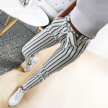 Skinny Women Striped Long Jeans Tie High Waist Ladies Lace Up Casual Pants Fashion Trouser with Belt Female Pants Summer front tie striped overlap pants