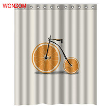 WONZOM Orange Watermelon Rose Milk Shower Curtains with 12 Hooks For Bathroom Decor Modern 3D Polyester Bath Waterproof Curtain