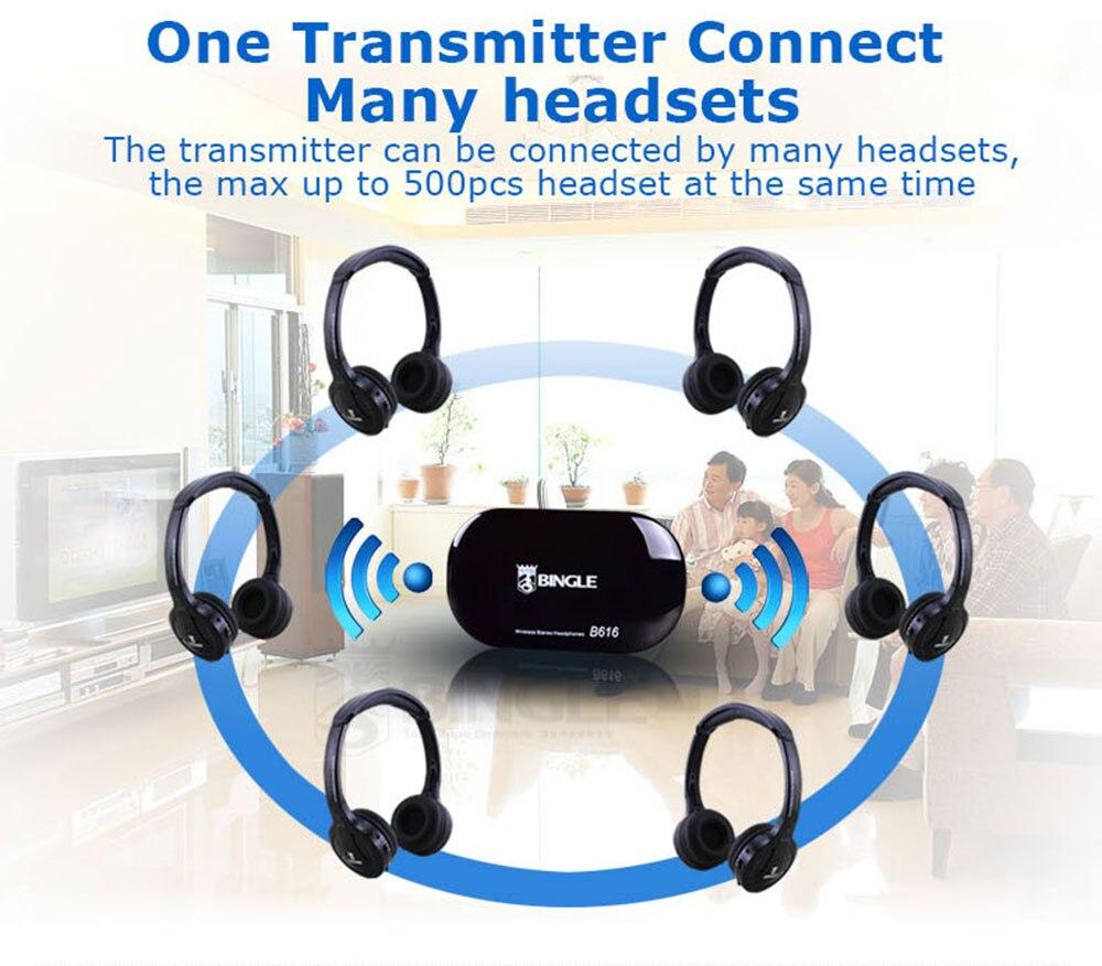 6 Pack 2.4G Wireless Transmitter Audio Headset Stereo Head Phone Headphones For Samsung,LG,TCL,Xiaomi,Sony,Sharp,Levono,Honor TV - 6
