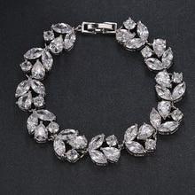 Emmaya Luxury White/Gold Color Bracelet for Women Ladies Shining AAA Cubic Zircon Crystal Birthday Jewelry Gift Party Wedding
