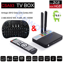 CSA93 Android 6.0 TV Box 3GB 32GB Amlogic S912 Octa Core 3D 4K Streaming Media Player Wifi 1000M BT Smart Mini PC Dolby Hebrew