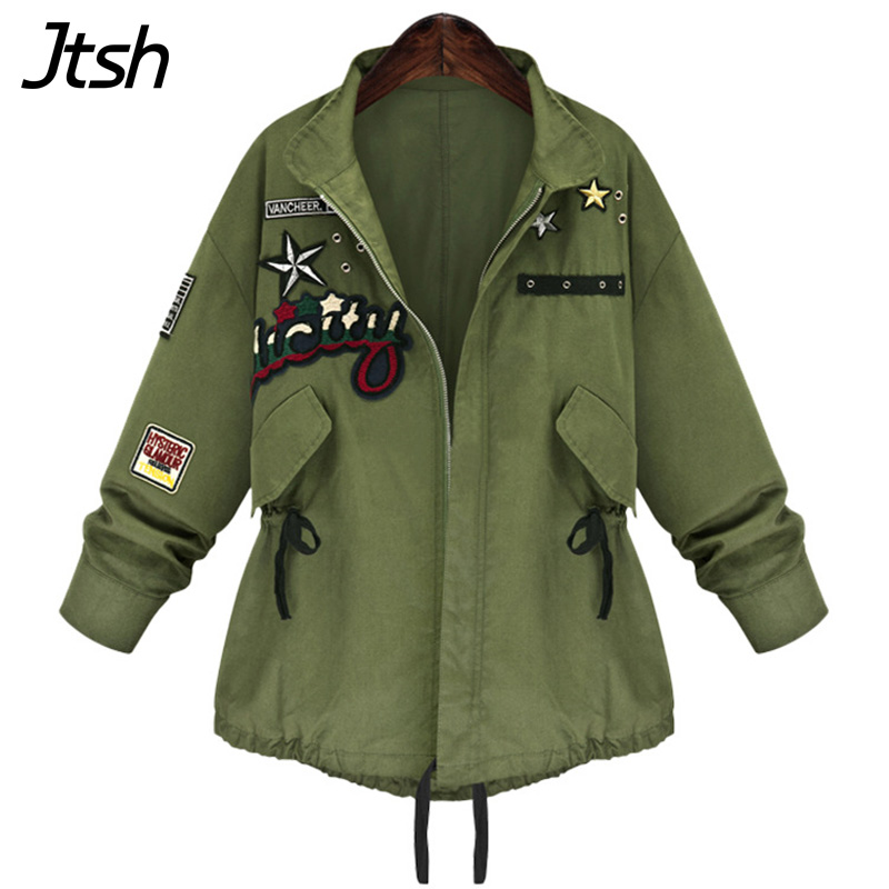 Plus Size 5XL Bomber Jacket Coat Women Autumn Army Green Windbreaker Badge Patches Embroidery Jackets Long Sleeve Outwear Coat