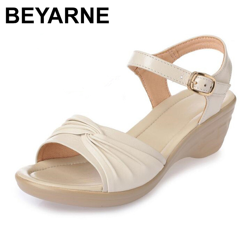 BEYARNE  2018 New Open Toe Sexy Summer Women Sandals Genuine Leather Shoes Sandals Plus Size Comfortable Flat Wedges Sandals