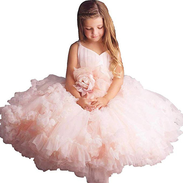 e0a4c331e Pink Big Rose Flower Girl Tutu Dress Kids Princess Wedding ...