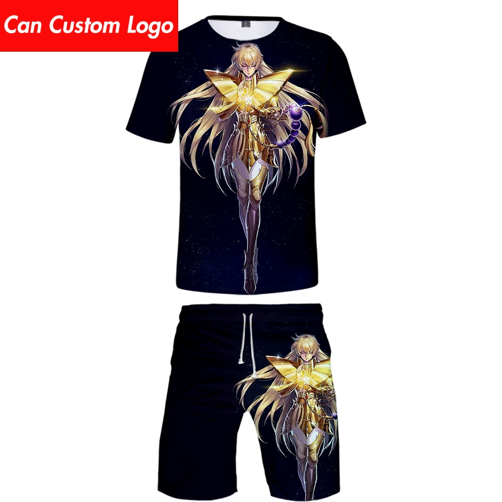 2019 Two Piece Set Tshirt And Shorts Harajuku Men Saint Seiya T Shirt Streetwear Harajuku Short Sleeve Plus Size Streetwear