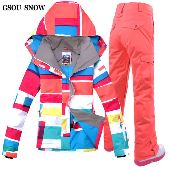 GSOU SNOW 2017 New Designer Women s Ski Clothing Suit Ski Jacket + Ski Pant  Snowboarding Set 0b0be06232