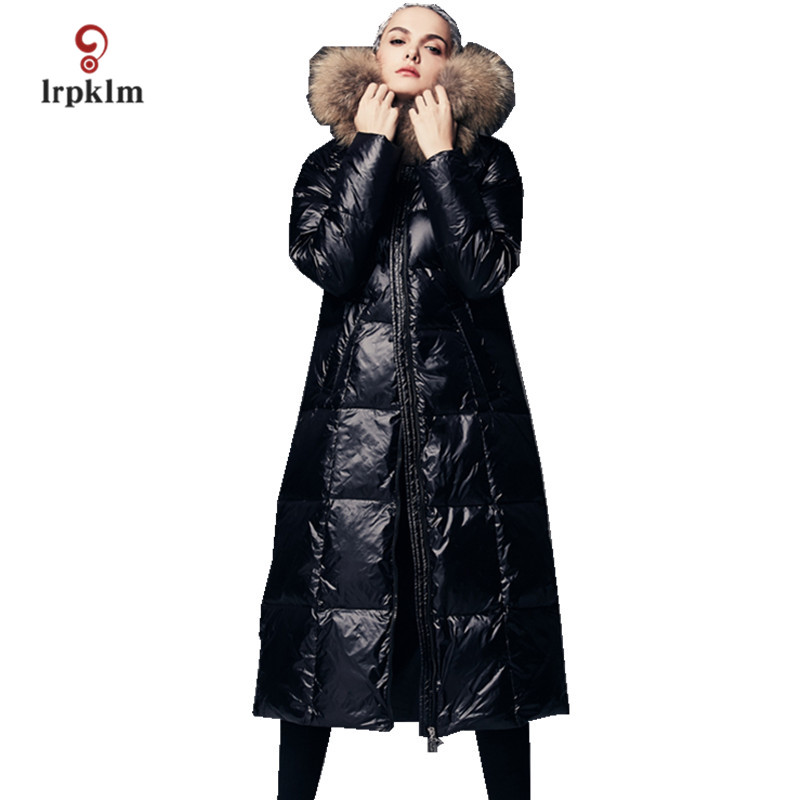 2017 New Fashion High Quality Women Winter Long   Down   Jackets With Luxury Big Fur Hooded Collar Female Warm Duck   Down     Coat   PQ130
